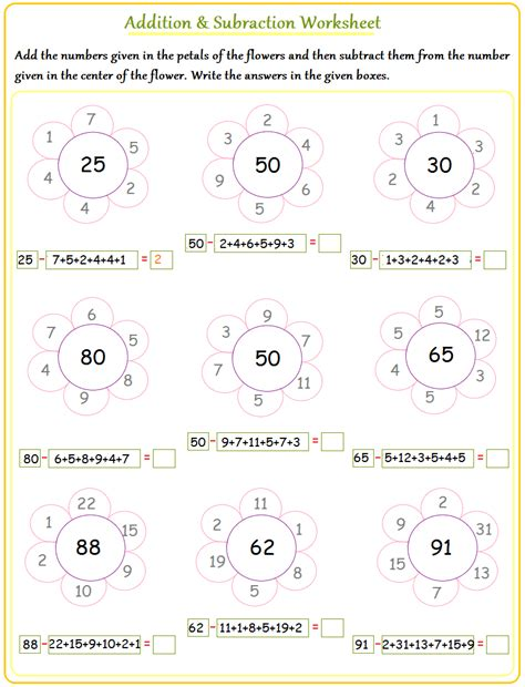 Addition And Subtraction Worksheets by Addition And Subtraction Simple Math Facts Worksheet New