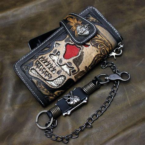 Handmade Biker Wallets - black carved real leather handmade skull biker mens