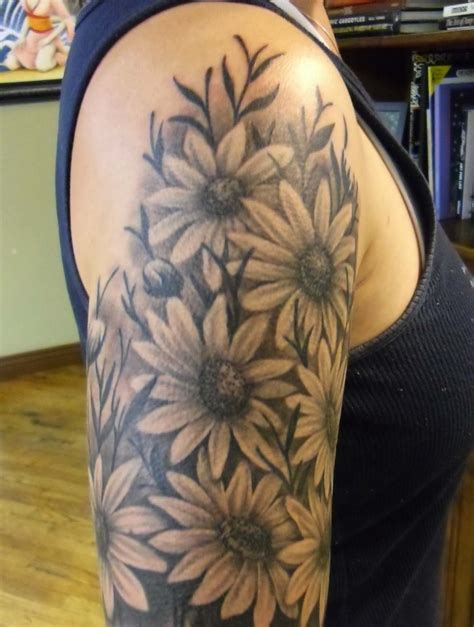 white daisy tattoo black sunflower