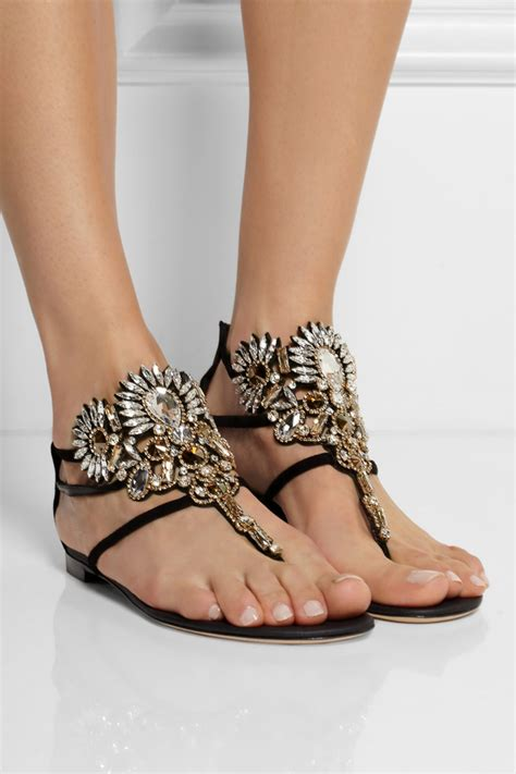 RENE CAOVILLA 10MM SWAROVSKI SUEDE SANDALS   Shoes Post
