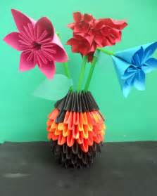 origami vase how to make 3d origami rainbow vase apps directories