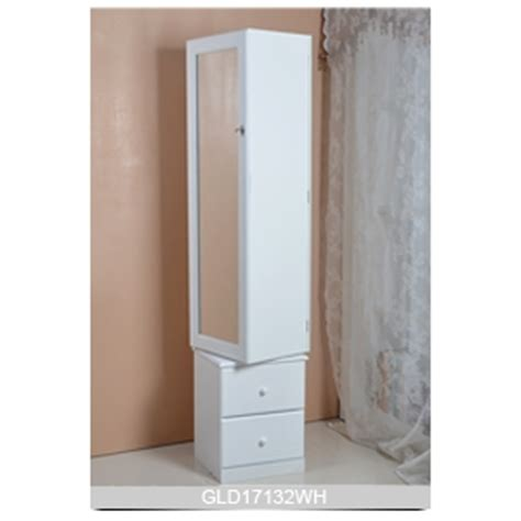 rotating jewelry armoire floor stand storage display rotating wooden mirror jewelry