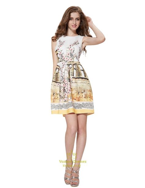 Mergory Flowery Flare Mini Dress vintage style sleeveless floral print fit and flare skater