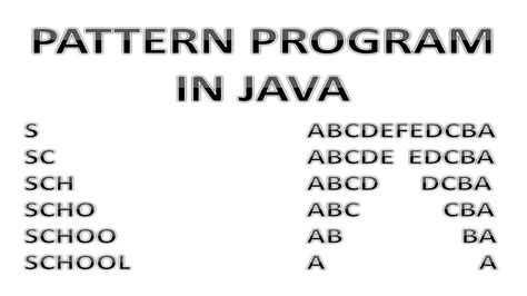 pattern search program in java pattern program in java part 3 youtube