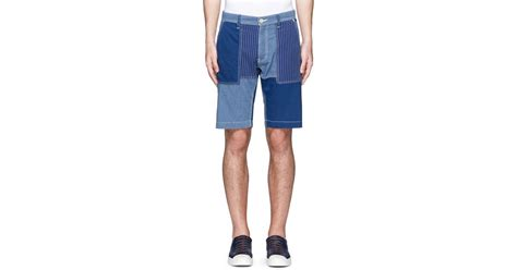 Patchwork Shorts - fdmtl patchwork cotton shorts in blue for lyst
