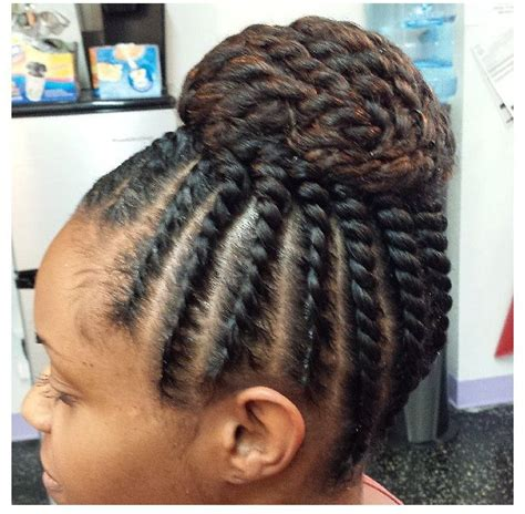 flat twist with synthetic hair updos flat twist updo hair pinterest