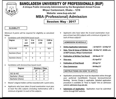 Bup Evening Mba bangladesh of professional mba admission notice