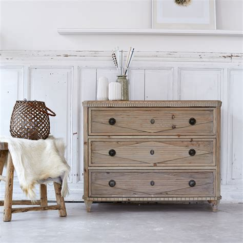 3 Drawer Pine Chest Of Drawers by Tikamoon Emily Pine Chest Of 3 Drawers