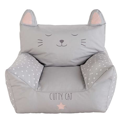 cat armchair cats children s printed grey cotton armchair maisons du