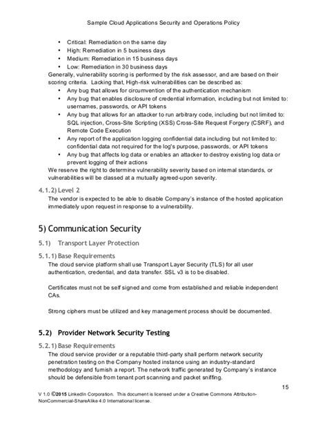 Cloud Policy Template sle cloud application security and operations policy