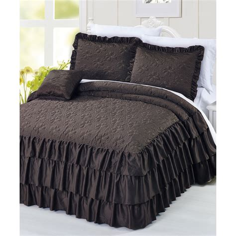 ruffle coverlet serenta ruffle matte satin 4 piece coverlet set reviews