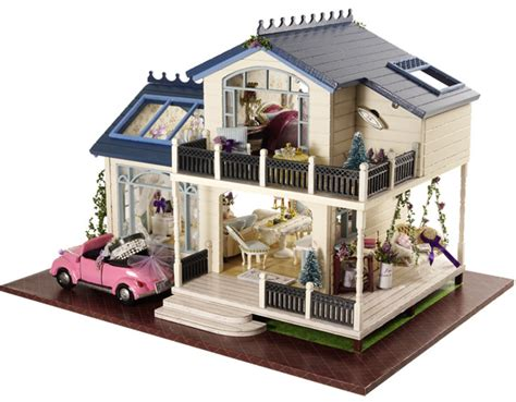 model doll houses provence villa large diy wood doll house 3d miniature dust