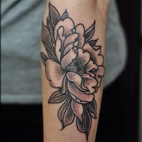 dotwork peony flower tattoo design for sleeve