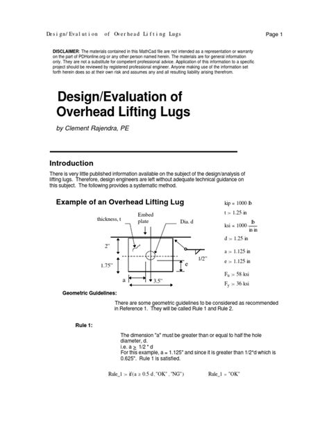 design criteria for lifting lugs design of lifting lug