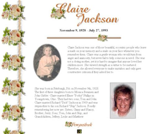 Obituaries Exles Templates by Sle Obituary Format