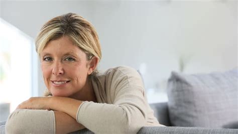 40 year woman face portrait of beautiful 40 year old woman stock footage
