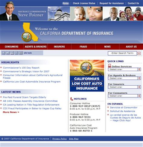 commonspot california department  insurance