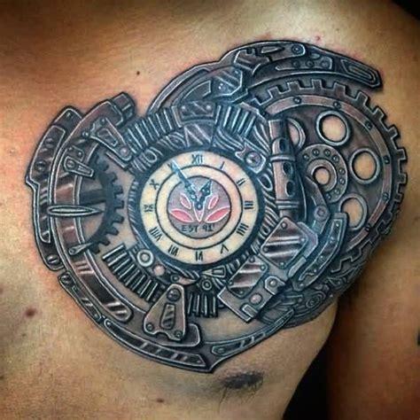 tattoo chest clock steunk clock tattoo on man chest