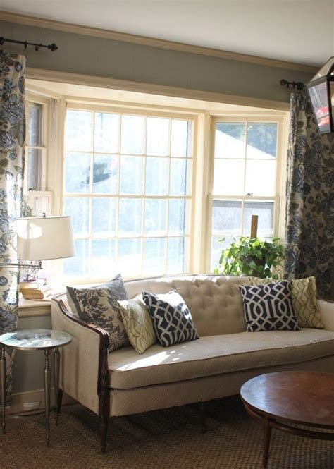 Bow Window Coverings put the couch back in front of the bay window living