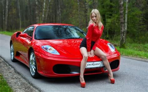 Ferrari Girls by Model Posing With A Red Ferrari Ferrari Cars