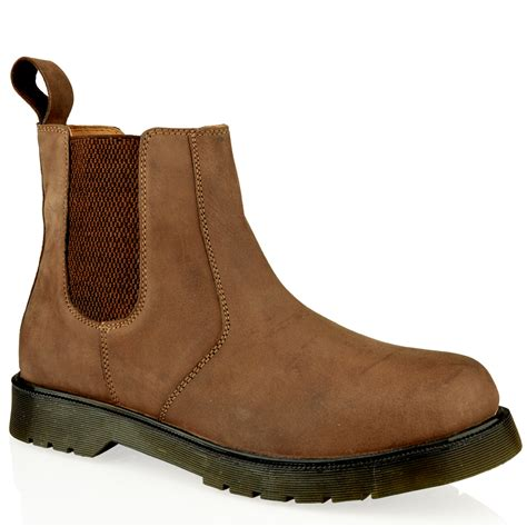 chelsea work boots for mens leather slip pull on chelsea dealer gusset ankle