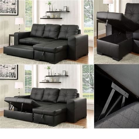sectional sofa pull out bed reversible chaise sofa black leatherette contemporary sectional pull out bed new ebay