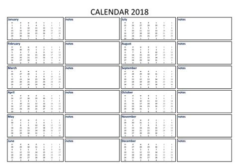 printable calendar notes 2018 calendar excel a3 with notes download our free