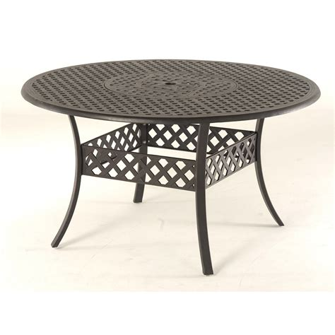 Lowes Patio Table Shop Garden Treasures Black 54 Quot Extruded Aluminum Patio Dining Table At Lowes
