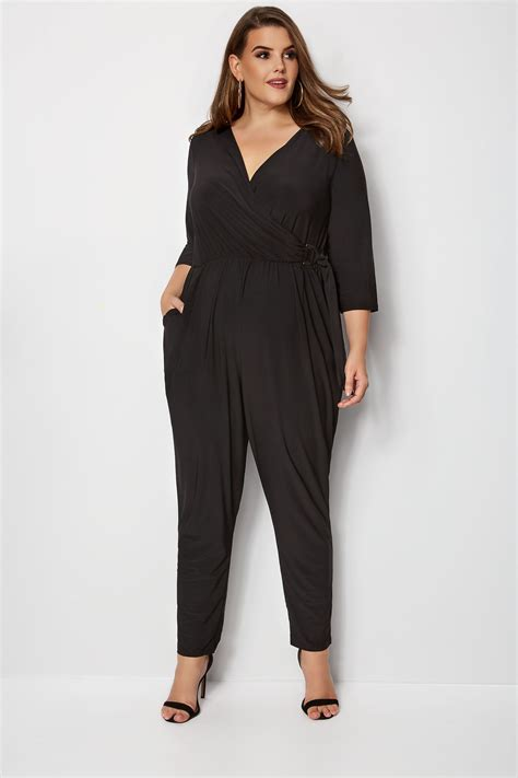 yours black wrap jumpsuit plus size 16 to 32