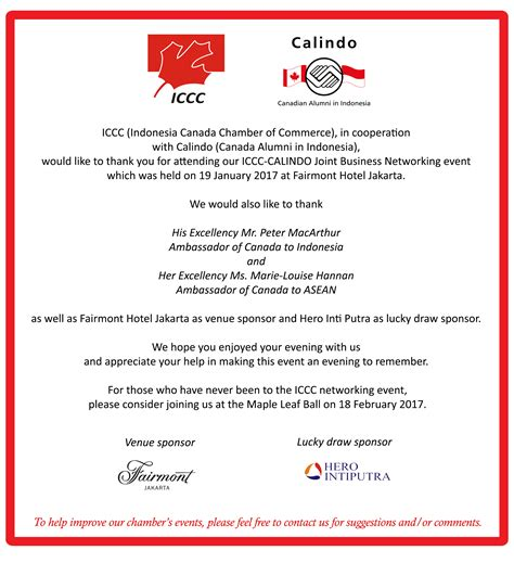 Thank You Letter Event joint with calindo january iccc