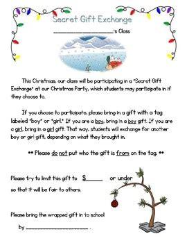 Gift Exchange Letter letter and secret gift exchange