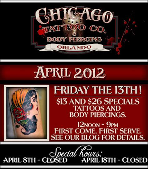 friday the 13th tattoos chicago chicago co friday the 13th specials are here