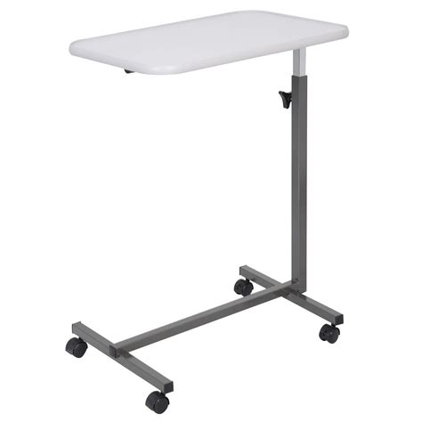 overbed table food tray top bed hospital adjustable rolling laptop desk gray new ebay