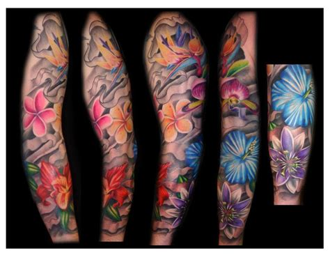 flower tattoos sleeve flower tattoos tropical flower sleeve flower