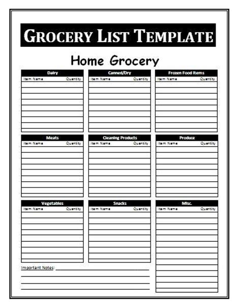 Grocery List Template by Grocery List Template Free Business Templates