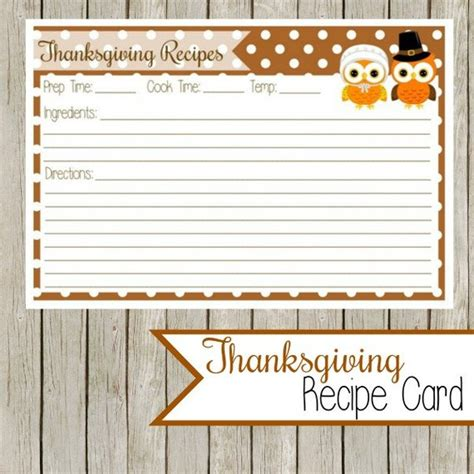 template for thanksgiving recipe cards thanksgiving recipe card printable