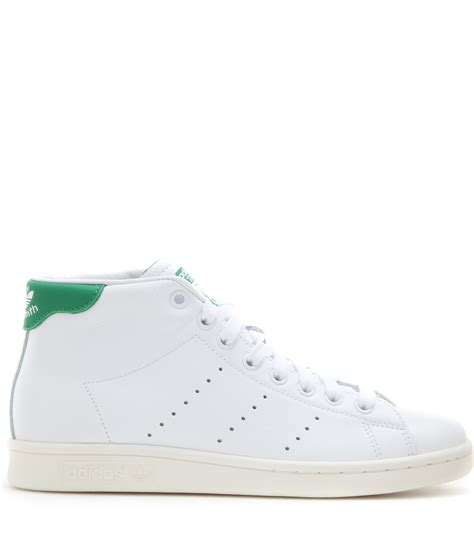 womens mid top sneakers adidas stan smith mid leather high top sneakers in white