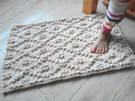 crochet bathroom rug wave chunky soft cotton knit rope rug
