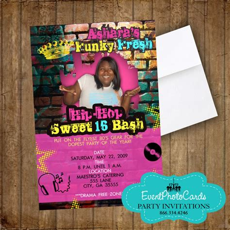 Hip Wedding Invitation Wording by Hip Hop Sweet 16 Photo Invitations