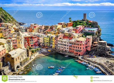 best city in cinque terre scenic view of and harbor in colorful