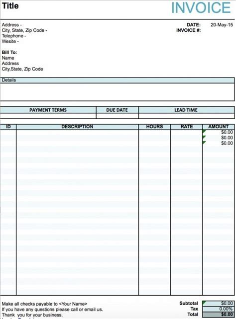 artist invoice template excel  word