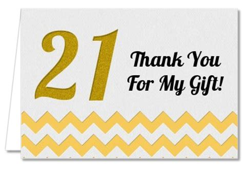 21st birthday thank you card templates birthday thank you cards 21st birthday chevron