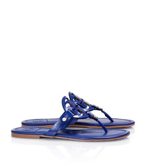 burch miller patent sandal burch patent leather miller sandal in blue indian