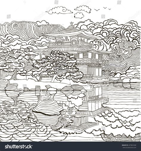japanese garden coloring pages beautiful japanese landscape house clouds coloring stock