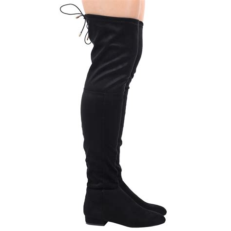 thigh high boots with low heel womens low heel knee elasticated boots