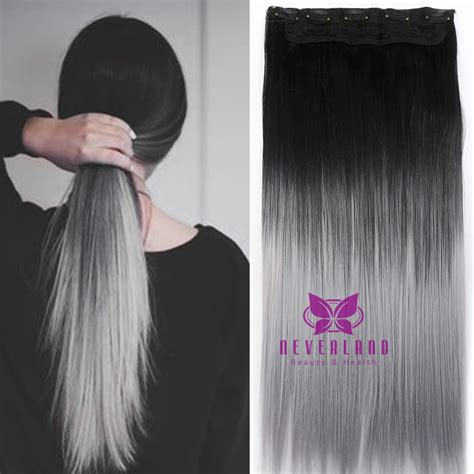 Hair Extension Clip Curly Ombre Silver Gray Abu Hairclip Keriting Curl one hair pad 24inch 60cm silver grey hairpieces ombre color clip in on