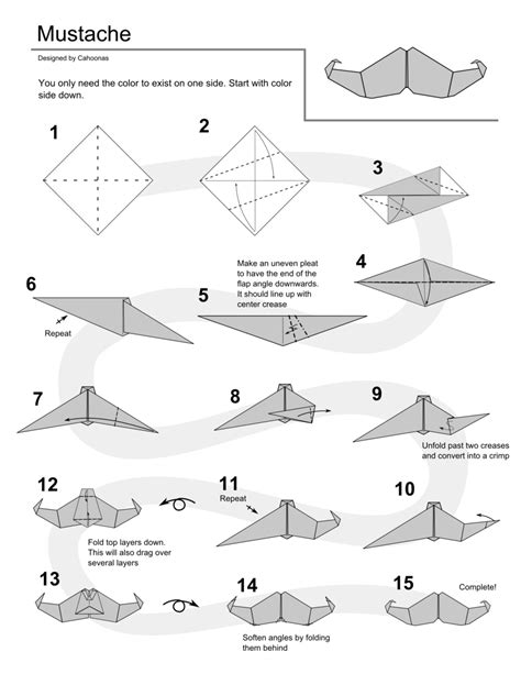 How To Make A Paper Beard - origami mustache by cahoonas on deviantart
