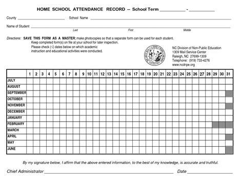 8 best images of home school attendance sheet school