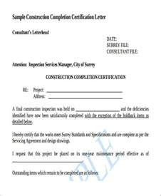 certification letter for completion work letter sles
