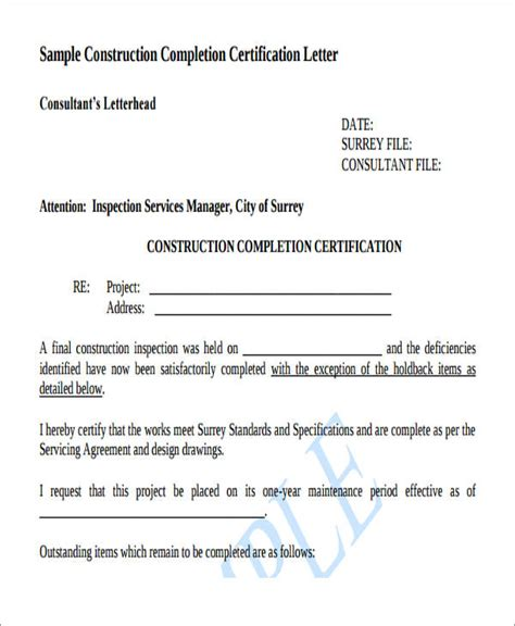 certification letter construction 22 work letter sles sle templates